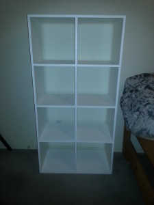 Custom book case, tote storage, hand crafted book case