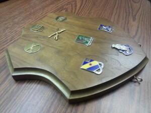 Custom Cut Medals Plaque, custom cut shield plaque, walnut shield cutout
