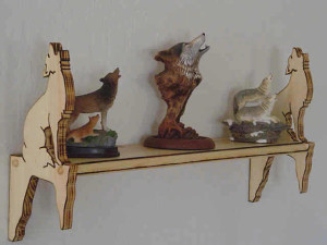 Howling Coyote Wall Shelf, southwestern decor, custom designed, hand crafted, wolf wall shelf