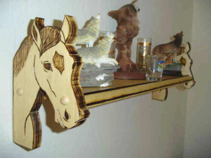 Horse wall shelf, horse shelf, custom designed, hand crafted, specialty shelf