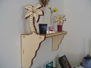 Palm Tree Wall Shelf, palm tree, custom designed, hand crafted, specialty shelf