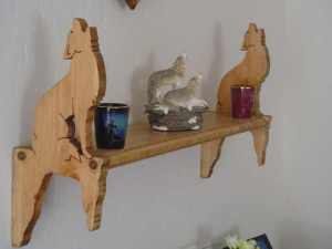 howling coyote shelf, custom wall shelf, hand crafted wall shelf, southwestern decor