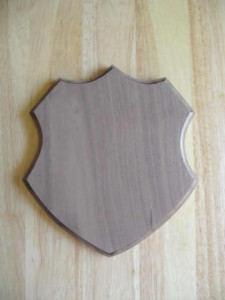 Custom Cut Shield Plaque, custom plaque, walnut shield