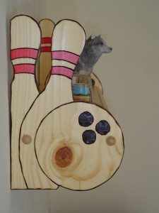 Bowling Pin, wall shelf, bowling shelf, custom shelf, hand crafted, specialty shelf