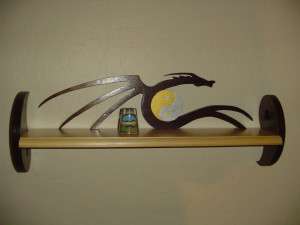 Yin yang, dragon, dragon wall shelf, custom wall shelf, handcrafted wall shelf