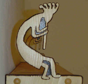 Kokopelli, flute player, southwestern, wall shelf, hand crafted,custom shelf, specialty shelf