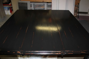 Custom Finished Table Top, refinished furniture, restoration, restored table top, kitchen table
