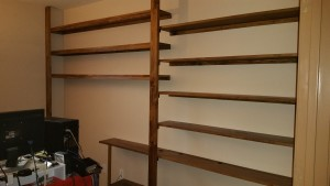 custom wall shelves, custom fit shelving, custom den, customized shelves
