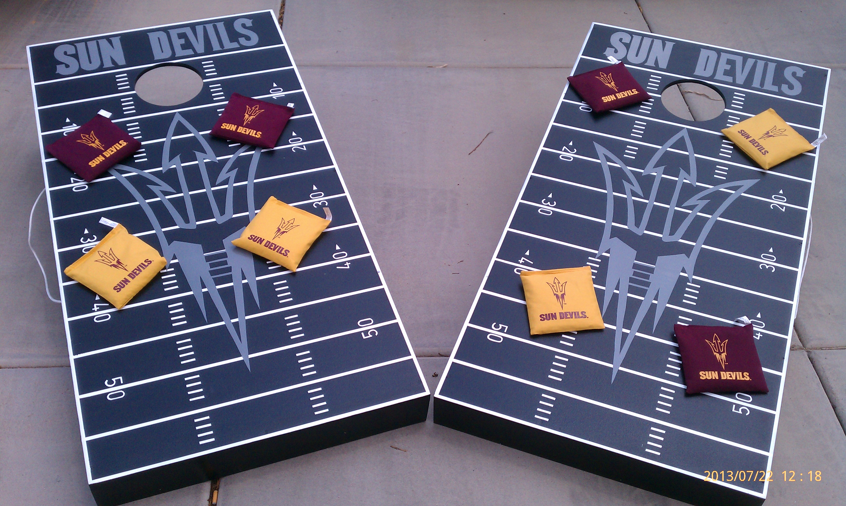 bag toss, cornhole, bean bag toss boards, sun devils, custom boards