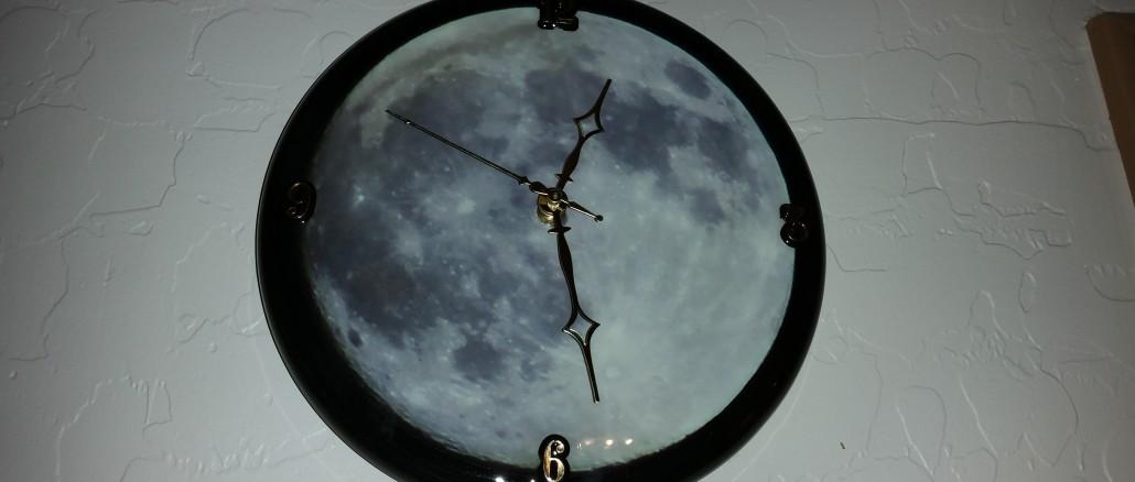 wall clock, custom clock, moon clock