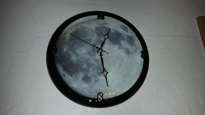 wall clock, custom clock, moon clock