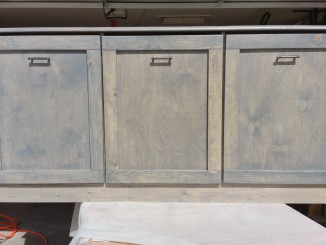 laundry sorter, aged appearance, reclaimed lumber, distressed look furniture, gray finish, satin finish, rough lumber