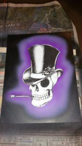 skull clock, airbrushed highlights, skull test, purple haze