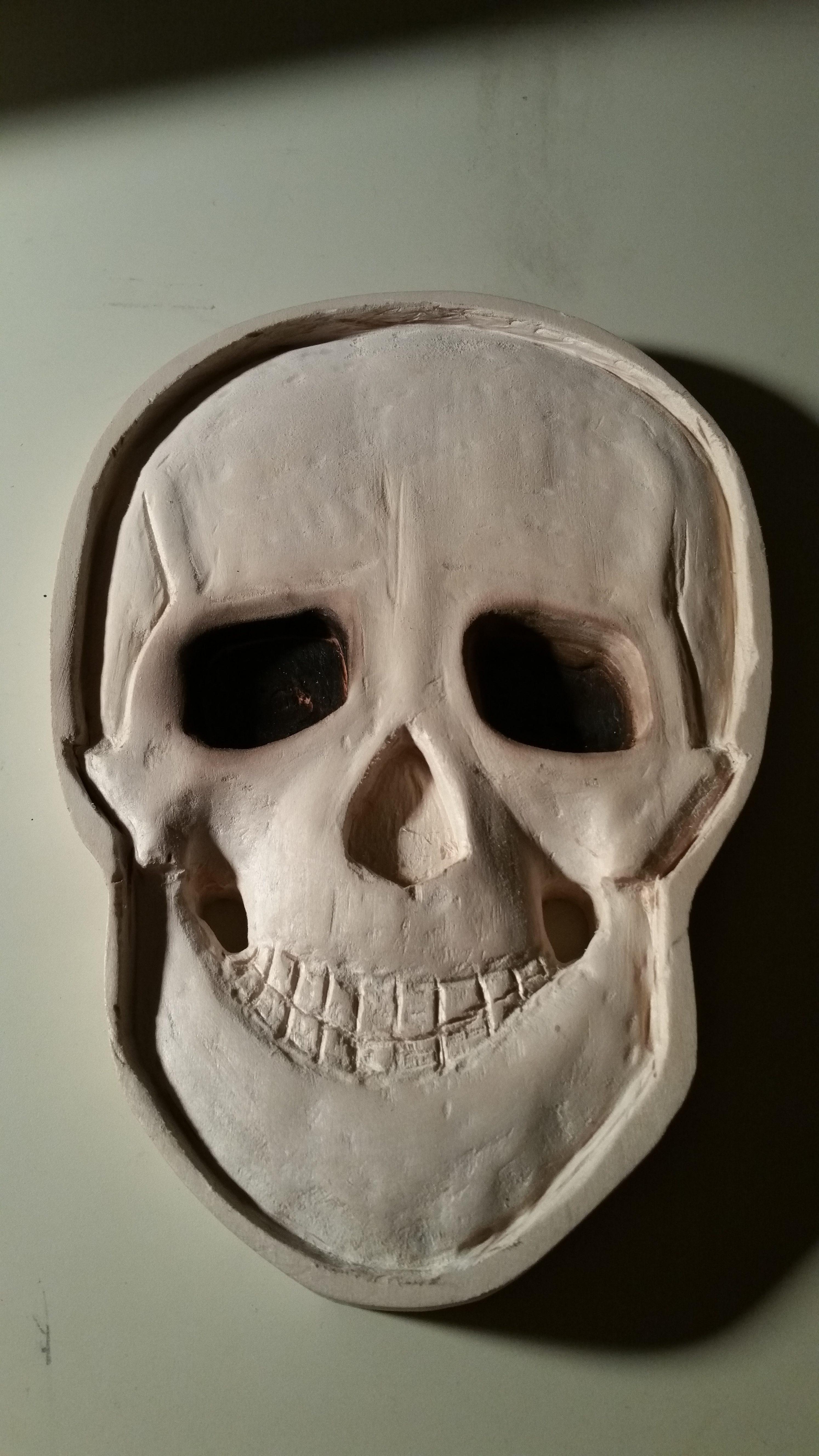 custom carving, custom engraving, skull sculpture, 3D skull test