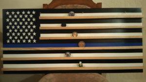 blue line, blue line flag, police flag, commendation coins, challenge coins, coin holder