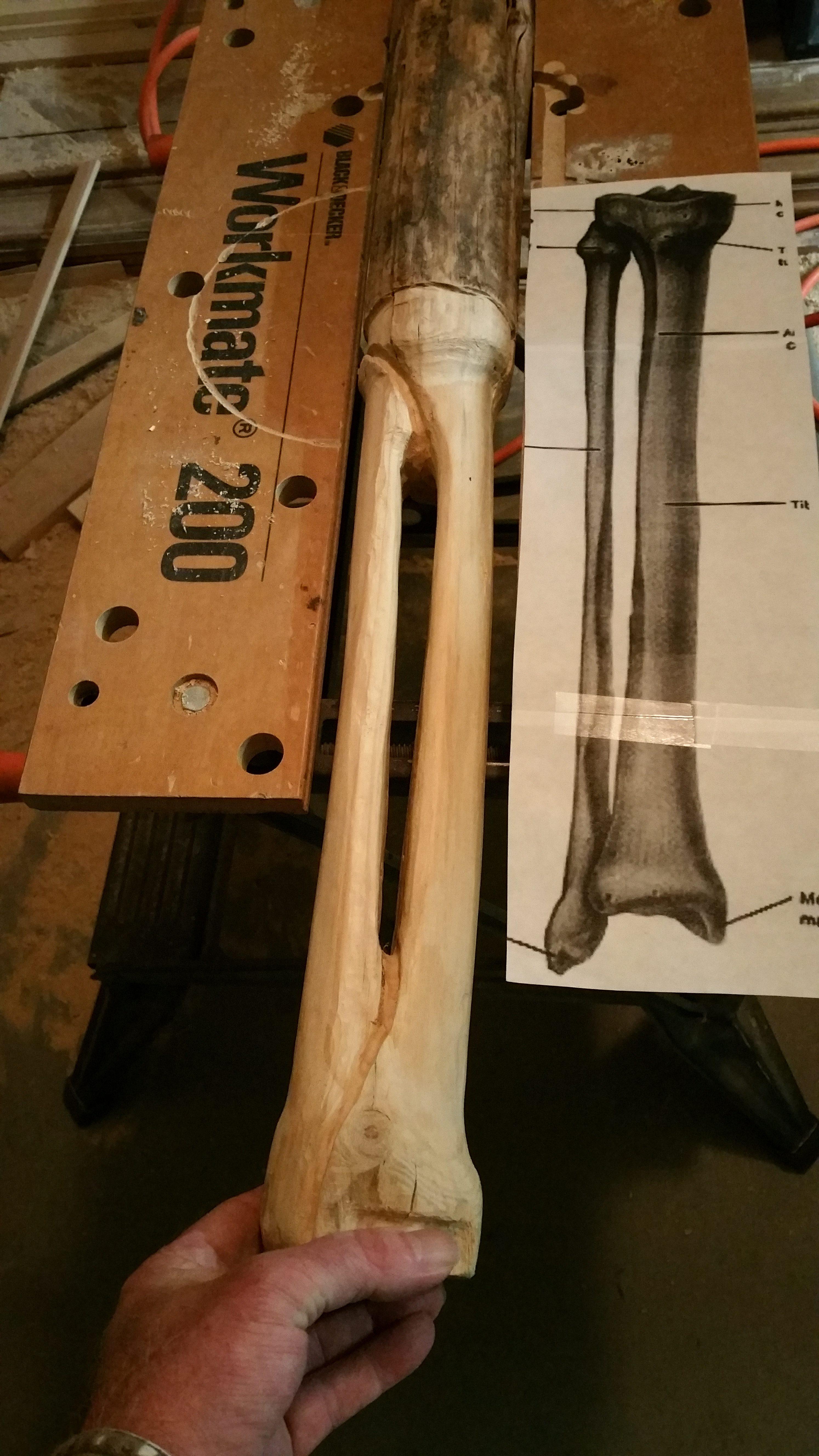 Custom Carved Legs, skeleton legs, shins, sculpted table legs
