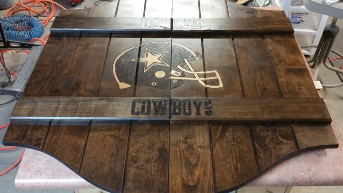 saloon doors, dallas cowboys, football, man cave, custom wood burning