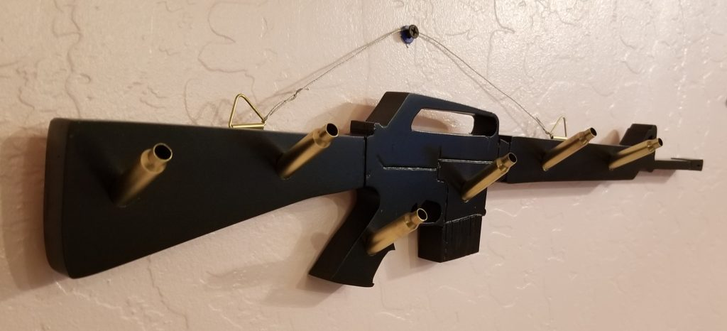 ar-15, AR-15, custom cutting, custom plaque, key rack, key holder, 223 cartidges, custom design, custom woodwork