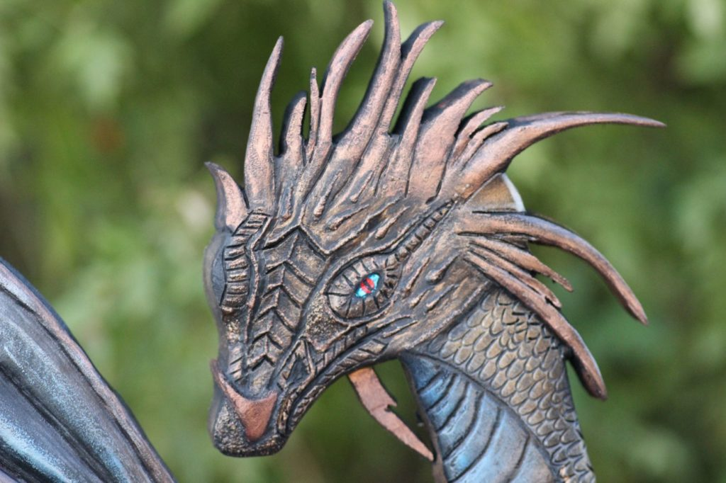 3D dragon, carved dragon, hand carved, hand painted, custom woodwork, custom carving, custom sculpting, custom table, draon art