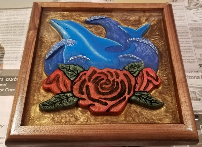 hand carved, dolphin, rose, 3D effect. wall art, resin, resin pour, resin art, hand crafted, carving, hand painted
